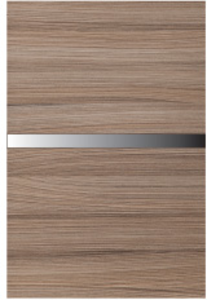Close up showing texture and color of thermo surface structured laminate door finish.