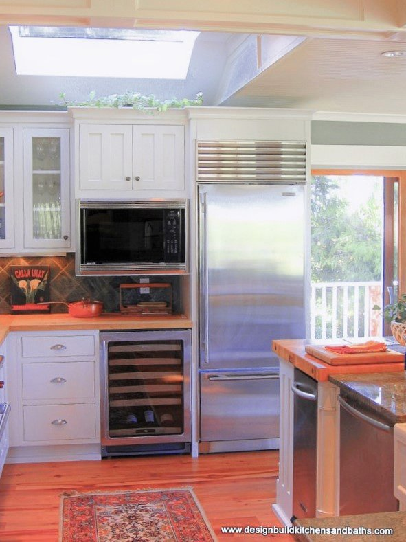 White cabinets in a kitchen with wood flooring and stainless steel appliances.